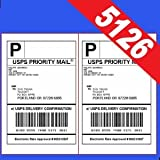200 Half Sheet Shipping Labels for Laser/InkJet for eBay, PayPal, USPS Click-n-Ship, UPS: 5-1/2