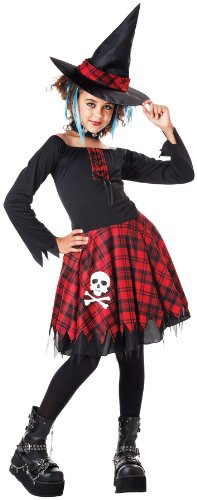 Seasons Punky Witch Girls 3pc Kids Costume Black|Red Tween (10-12)