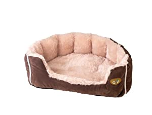 Gor Pets Snuggle Bed, 28-inch, Brown Suede