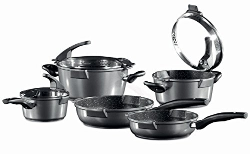 Germany's Stoneline Xtreme Series 8 Pieces Set Non-stick Non-Toxic Stone Coating Cookware - 2016 Top of the line model, better taste food (Earth Pots And Pans compare prices)