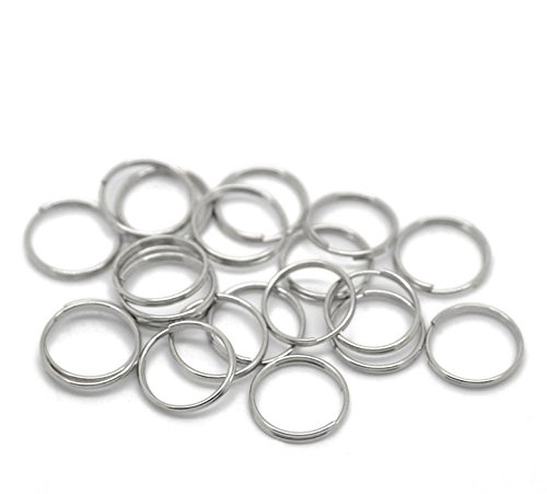 500PCs Silver Tone Split Rings Findings 12mm(4/8