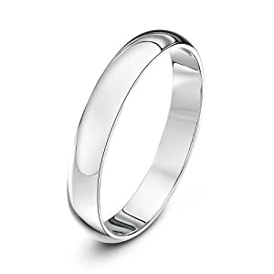 Theia 9ct White Gold - Super Heavy D Shape - Highly Polished - 3mm Wedding Ring - for Men or Women - Size N