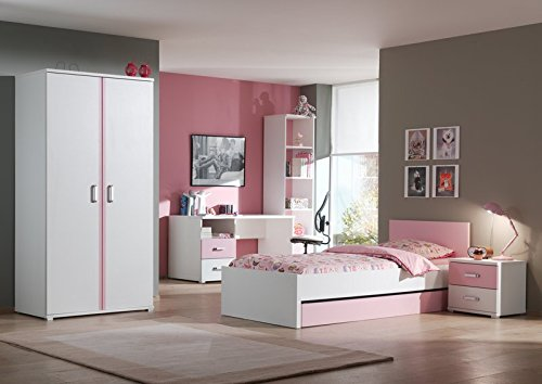 """Chambre Complète Enfant 6P """"Valentine"""" Blanc & Rose"""