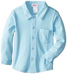 Zutano Baby-boys Infant Pastel Solid Long Sleeve Button Shirt, Bluebird, 12 Months