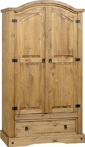 Corona - Armario de dos puertas (pino encerado)