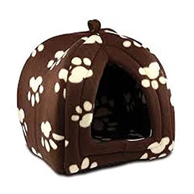 Pet Paw Print Design Igloo Pet Dog Cat Pyramid Bed Hut