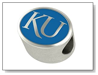 University of Kansas Jayhawks Collegiate Bead Fits Most Pandora Style Bracelets Including Pandora Chamilia Zable Troll and More. High Quality Bead in Stock for Immediate Shipping. Officially Licensed