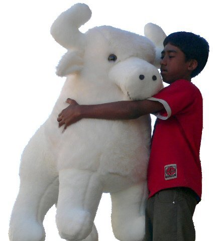 American Made Giant Stuffed White Buffalo 44 Inches Sacred Native American Indian Plush Animal Almost 4 Feet Wide and 3 Feet Tall Huge Stuffed Animal Made in the USA America (Usa Made Stuffed Animals compare prices)