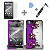 (4 Items Combo : Case - Screen Protector Film - Case Opener - Stylus Pen) Rubberized Purple Silver Vines flower Snap on Design Case Hard Case Skin Cover Faceplate for Motorola DROID X MB810 & Droid X2 MB870 Verizon