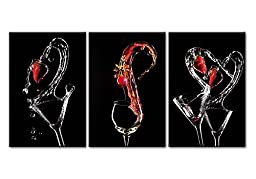 Canvas Print Wall Art Painting For Home Decor Water Splashing From Strawberry Fruits In Crystal Glass Looks Like Swan On Black Background In Black White And Red With Love Cocktail 3 Pieces Panel Paintings Modern Giclee Stretched And Framed Artwork The Pic