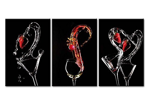 Canvas Print Wall Art Painting Water Splashing Strawberry Fruits Crystal Glass Swan Black White And Red Love Cocktail 3 Pieces Panel Paintings Giclee Stretched Framed Artwork Picture Wine Photo Prints