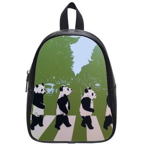 Generic Custom Pandas Walking In Line Printed School Bag Backpack Fit Short Trip Pu Leather Medium front-963312