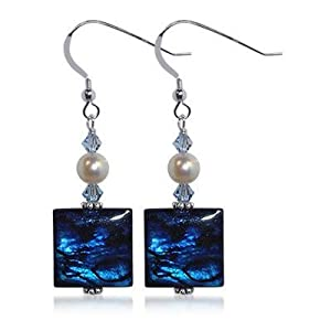 SCER185 Sterling Silver 4mm Square Abalone Crystal Earrings Made with Swarovski Elements