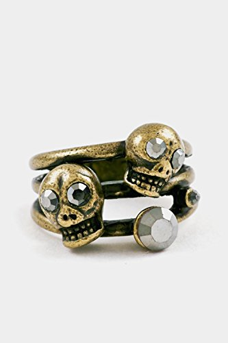 Glitz Finery Double Skull Accent Size Ring (Burnished Gold)
