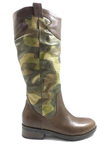 ALBERTO GOZZI KY455 stivali donna 38 EU marrone militare pelle