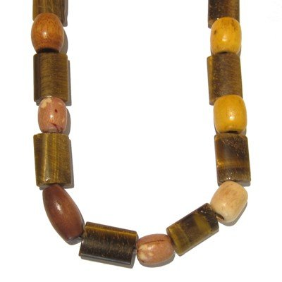 Tigers Eye Necklace 03 Beaded Wood Brown Yellow Chunky Crystal 31