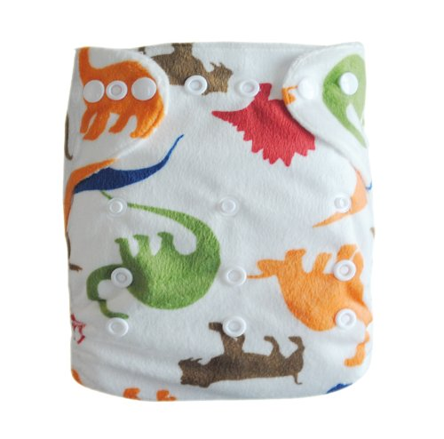 Alva One Size Washable Reusable Minky Cloth Diaper for 6-33lbs Baby (Dinosaur) with Two Inserts M12