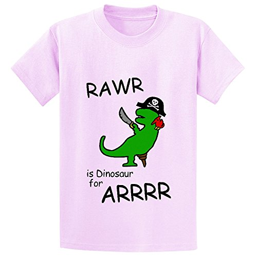 Unicorn Rawr Is Dinosaur For Arrr Pirate Boys' Graphic Crew Neck T Shirts Pink