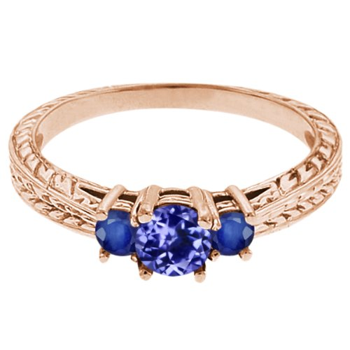 0.56 Ct Round Blue Tanzanite Sapphire 18K Rose Gold 3-Stone Ring