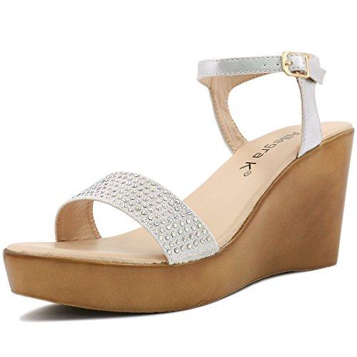 Allegra K Woman Rhinestones Embellished Wedge Sandals Silver (Size US 11