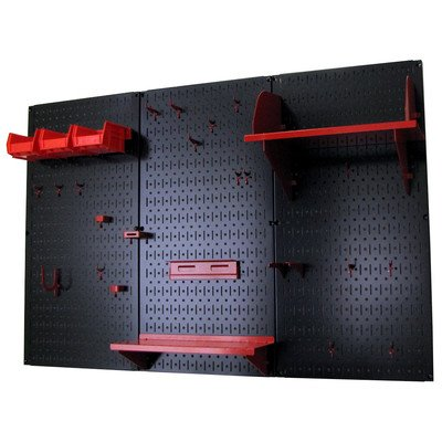 Wall Control 4ft Metal Pegboard Standard Tool Storage Kit - Black Toolboard & Red Accessories