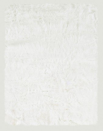 """20"""" x 30"""" Tufted Faux Sheepskin Rug in White Color"""