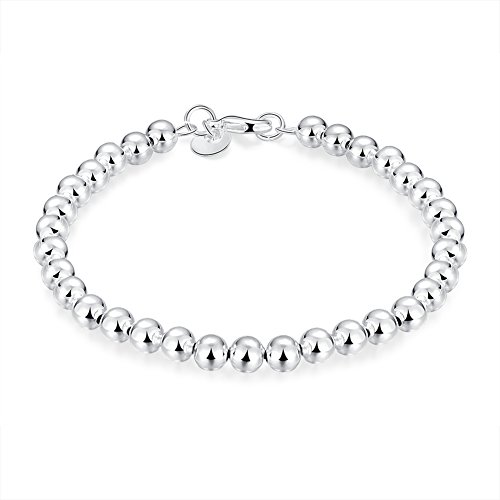 Elegante braccialetto catena bracciale Perline 925 Sterling Mini in argento diametro 60 mm