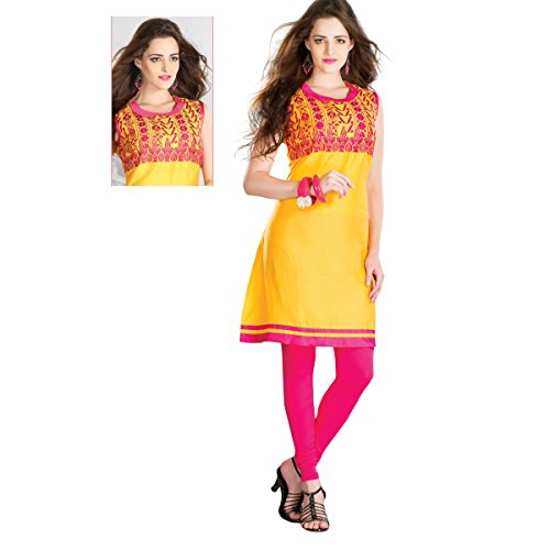 Aagaman-Fashion-Chanderi-Cotton-Kurtis-TSHTXFOK4002Yellow