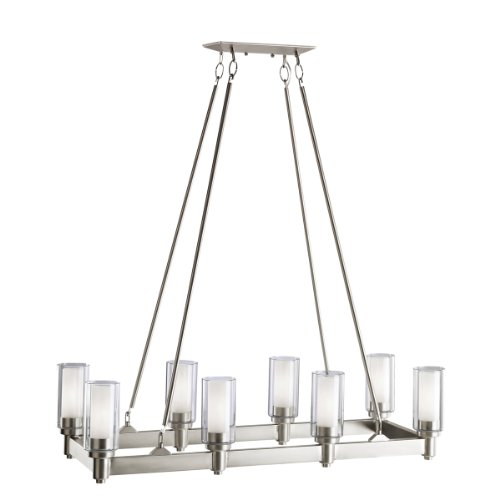 B001B9UH16 Kichler Lighting 2943NI Circolo 8-Light Linear Island Light, Brushed Nickel with Clear Glass Cylinders and Satin-Etched Inner Cylinders