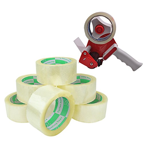 "MetronicTM 3- Inch Handheld Packing Tape Dispenser & 6 Rolls Clear 2""x110Y,1.8Mil Tape"