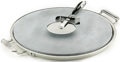 All-Clad 00280 Stainless Steel Serving Tray with 13-inch Pizza-Baker Stone Insert and Pizza Cutter, Silver (Keurig Cutter compare prices)