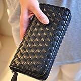 カラフル イントレチャート メッシュ ラウンドファスナー 長財布 メンズ レディース 6色 カラー選択 (ブラック)