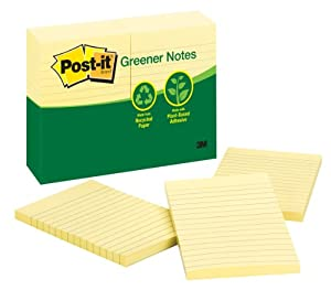 Post-it Greener Notes, 4 x 6-Inches, Canary Yellow, Lined, 12-Pads/Pack