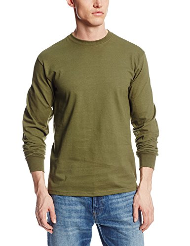 Soffe men 39 s long sleeve cotton t shirt olive green large for Mens 100 cotton long sleeve t shirts