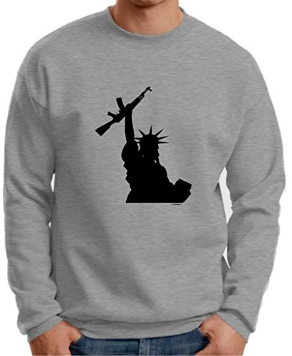 Statue Of Liberty Holding Assault Rifle Premium Crewneck Sweatshirt Large Light Steel