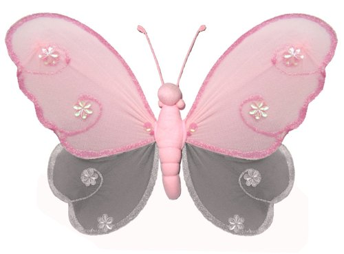 "Hanging Butterfly 18"" X-Large Pink Gray (Grey) Hailey Nylon Butterflies Decorations. Decorate For A Baby Nursery Bedroom, Girls Room Ceiling Wall Decor, Wedding Birthday Party, Bridal Baby Shower, Bathroom. Kids Childrens Butterfly Decoration 3D Art Craft front-1089379"
