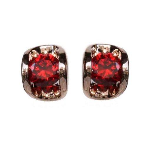 Fashion Plaza 18k Gold Plated Use Swarovski Crystal Garnet Stone Stud Earring E146