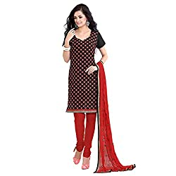 Parabdhani Fashion Women's Chanderi Semi Stitched Suit (PBF_DM_79_Black_Free Size)