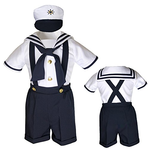 Unotux Sailor Shorts Suits for Infant Toddler Boys Navy Outfits S M L XL 2T 3T 4T