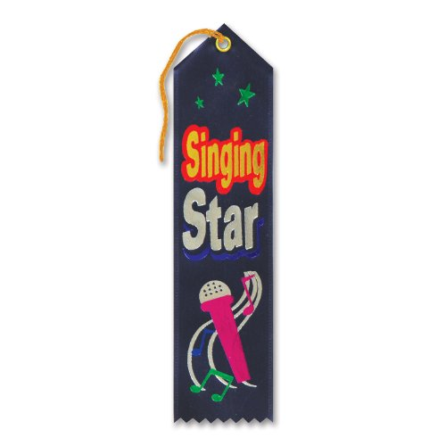 "Singing Star Award Ribbon 2"" x 8"" Party Accessory - 1"