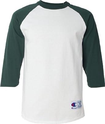 Champion T1397 Cotton Tagless Raglan Baseball T-Shirt - White/Dark Green - S