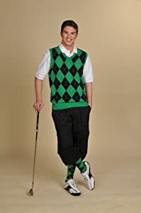 Mens Golf Outfit - Solid Black Stewart Knickers, Black Green White Overstitch... by Kings Cross Knickers