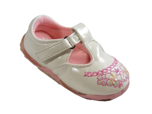 New Baby Girls Kids White Pink Velcro Flats Shoes Party Wedding Shoe Size Sz s 6