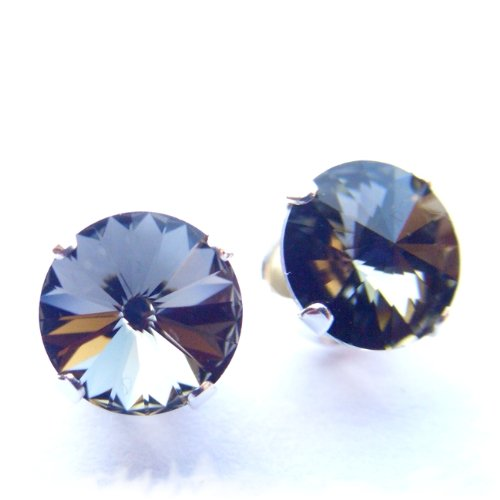 Magnet Therapy 925 Sterling Silver Stud Earrings made with Neodymium Magnets set with Vintage Black diamond (clear charcoal grey) Rivoli Swarovski Crystal Stones. Gift Box. Beautiful jewellery for very special people.