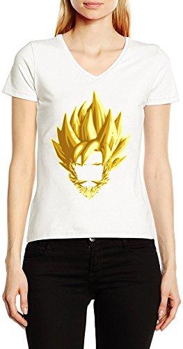 Barba-De-Oro-De-Goku-V-Cuello-Camiseta-Para-Mujer-Blanco-Todos-Los-Tamaos-Womens-V-Neck-T-Shirt-White