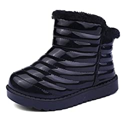 Cattior Toddler Little Kid Stripe Waterproof Warm Kids Boots Shoes Furry Boots (10 M, Black)