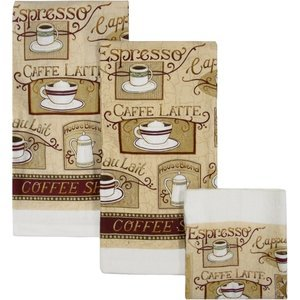 House blend cafe latte dish towels cloths for Kitchen wall decor sets
