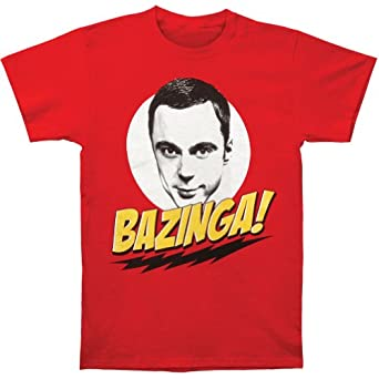 Mens The Big Bang Theory Bazinga w/ Sheldon T-shirt Small/Red
