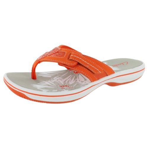 Clarks Women'S Breeze Eloie Comfort Flip Flop Orange 8 M Us front-1056521