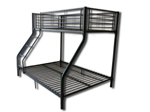 New Black Metal Triple Children Sleeper Bunk Bed Frame No Mattress Double Bed Base Single On Top